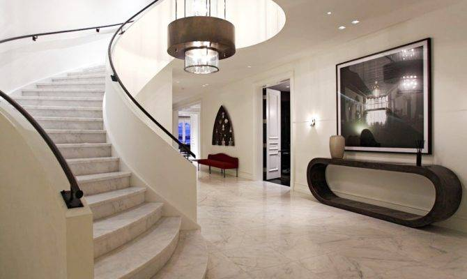 Foyer All White Marble Floors Stairs Above