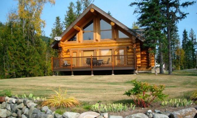 Frame Log Home Design Front Deck Spanning Width