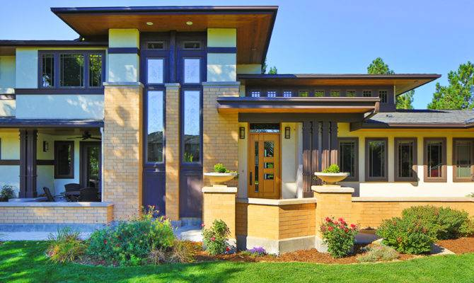 Frank Lloyd Wright Inspired Porch Front Homes