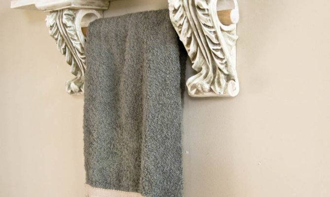 French Country Accent Display Bath Wall Shelf Towel Bar Holder