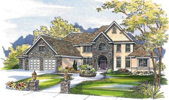 French Country Estate Home Plan Architectural