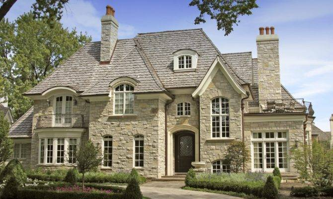French Country House Facade Facing Stone Pathway