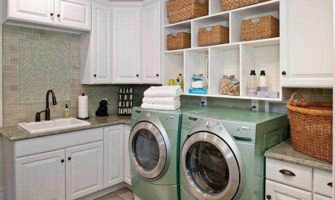 French Country Laundry Room Traditional White