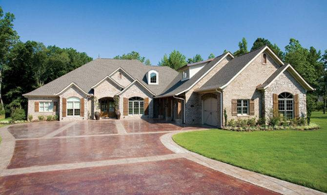 French Country Stone Brick Homes Luxurious One Story Home