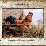 French Old Country Farm Ranch Rooster Hen Antique Vintage Art Print