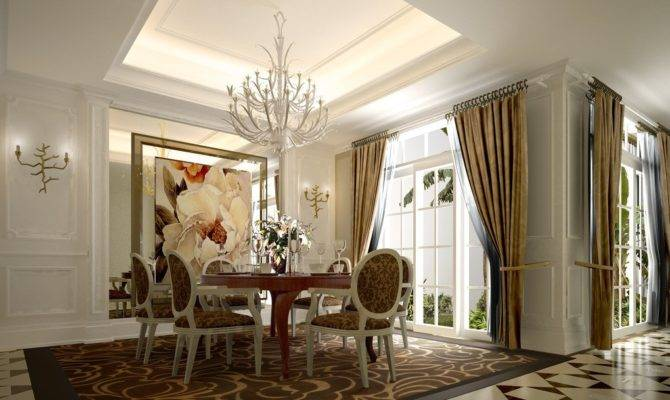 French Window Dining Room Neoclassical Style House