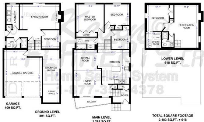 Front Back Split Level House Plans Design
