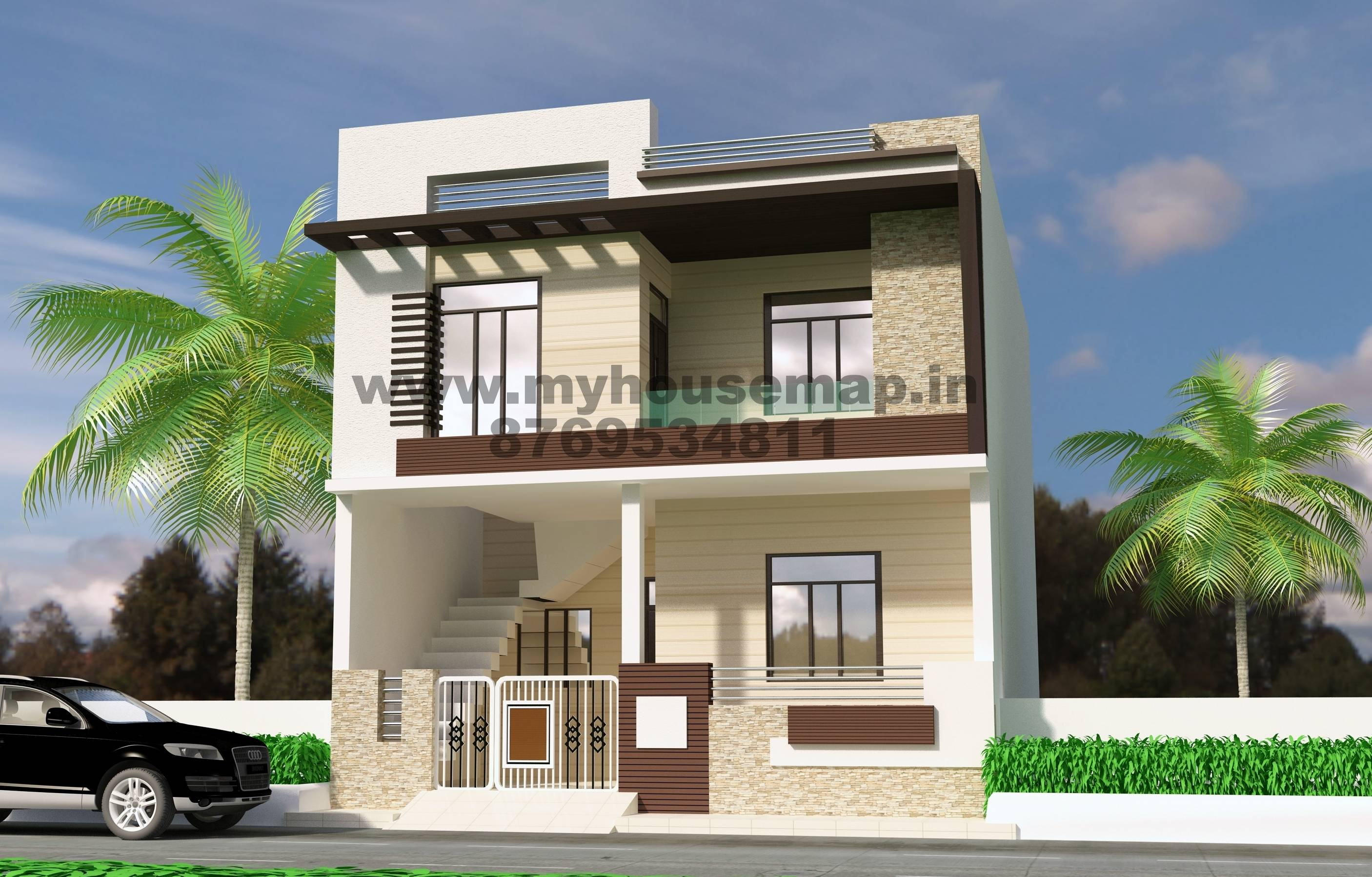 Front Elevation Design Modern Duplex - House Plans | #112826
