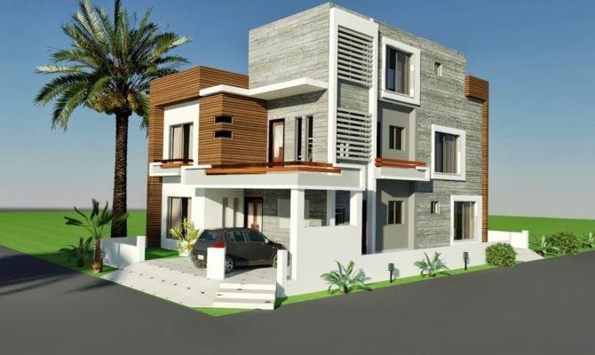 Front Elevation Marla Corner House Plan Design