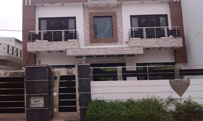 Front House Elevation Two Balcony Iron Gate Wall Design