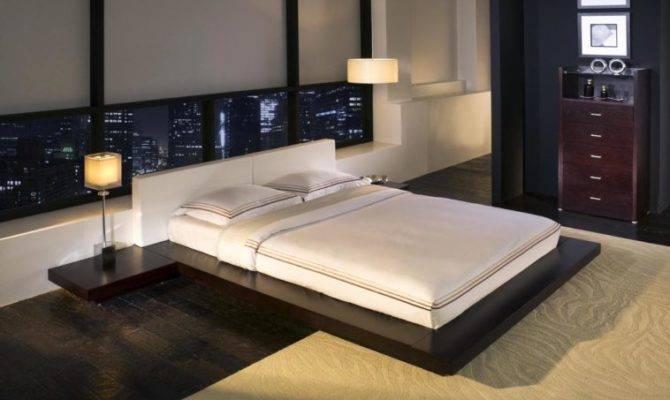 Furniture Floating Black Wooden Flat Platform Bed Frame