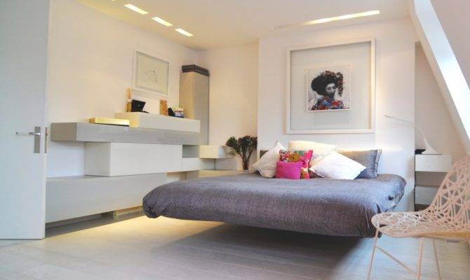 Futuristic Grey Bedroom Floating Bed White Wall
