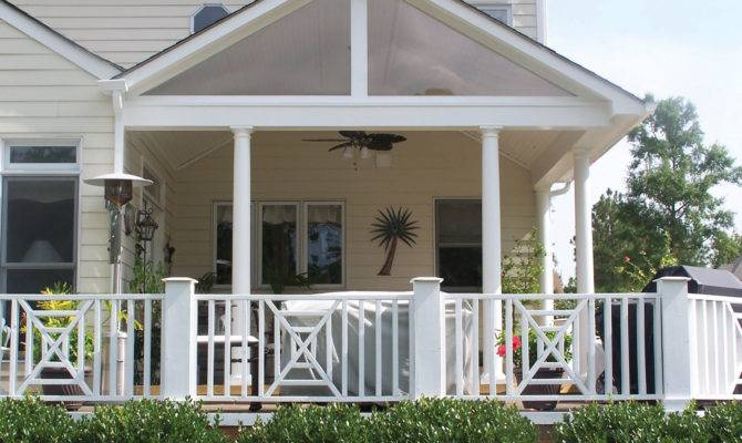 Gabled Roof Lends Clean Design Lines Covered Porch