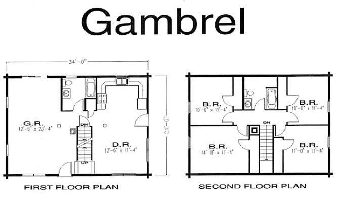 Gambrel Log Home Kits Plans