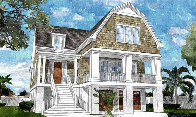 Gambrel Roofed Shingle Style House Plan