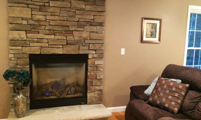 Gas Fireplace Stone Floor Ceiling Surround