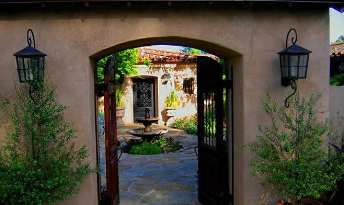 Gated Hacienda Courtyard Entrance Montecito Home