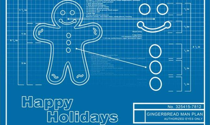 Gingerbread Man Blueprint Holiday Cards Print