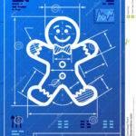 Gingerbread Man Symbol Like Blueprint Drawing Vector