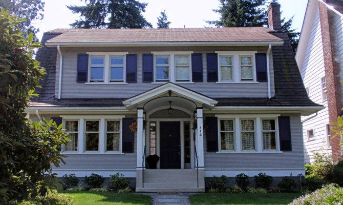 Gray Dutch Colonial Revival House North Historic