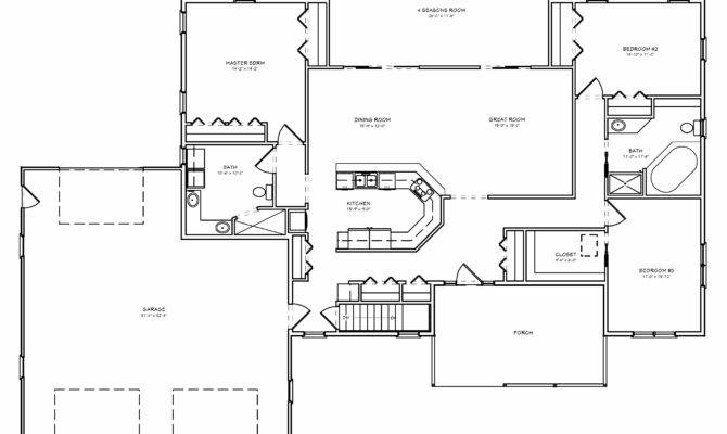 Great Room House Plan Split Bedroom Car