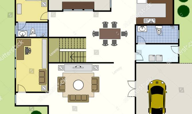 Ground Floor Plan Floorplan House Home Vector