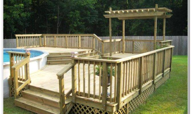 Ground Pool Deck Plans Decks Home Decorating