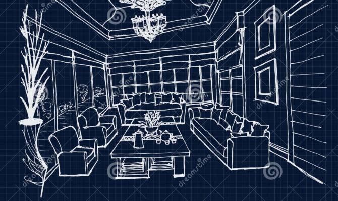Hand Drawing Interior Design Living Room Blue Print