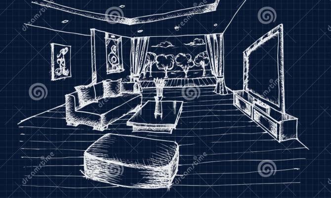 Hand Drawing Interior Design Living Room Vector