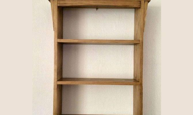 Handmade Arts Crafts Style Wooden Wall Shelf Unit