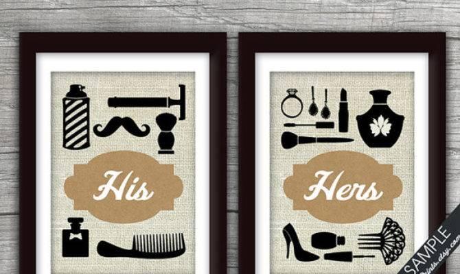 His Hers Bathroom Prints Set Art Print Featured