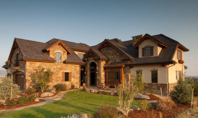 Home Architecture Featuring Stone Stucco Heavy Timber Wood