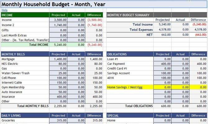 Home Budget Excel Sheet Monthly Template