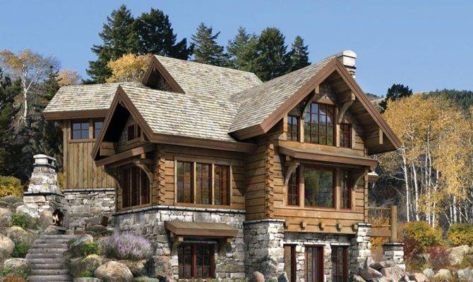 Home Designs Luxury Log Plans Natural Stone Fireplace Wooden
