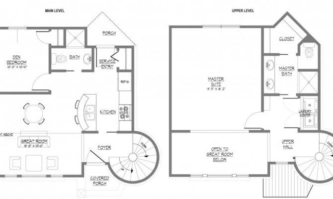 Home Floor Plan Design Two Story House Spiral Staircase House Plans 1445