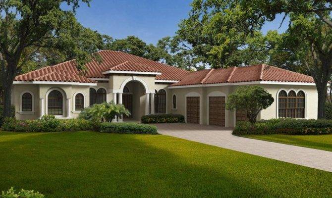 Home One Story Mediterranean Style Waterfront
