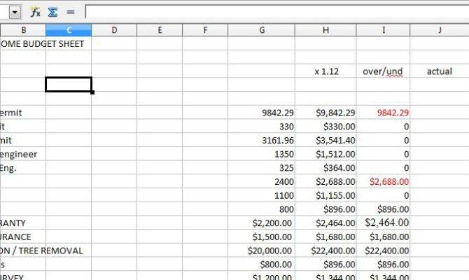 Home Renovation Budget Spreadsheet Excel