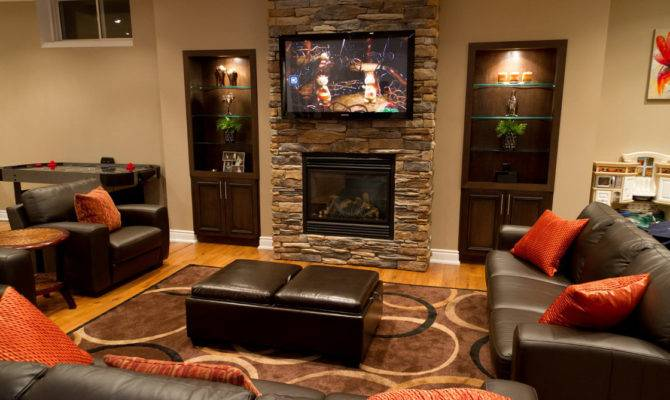 Home Theater Room Come Fireplace Beautiful Beige Roo