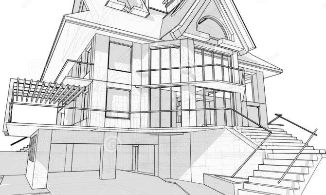House Architecture Blueprint Vector Illustration
