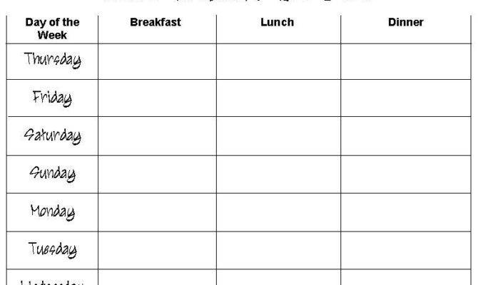 House Cleaning Plan Weekly Meals