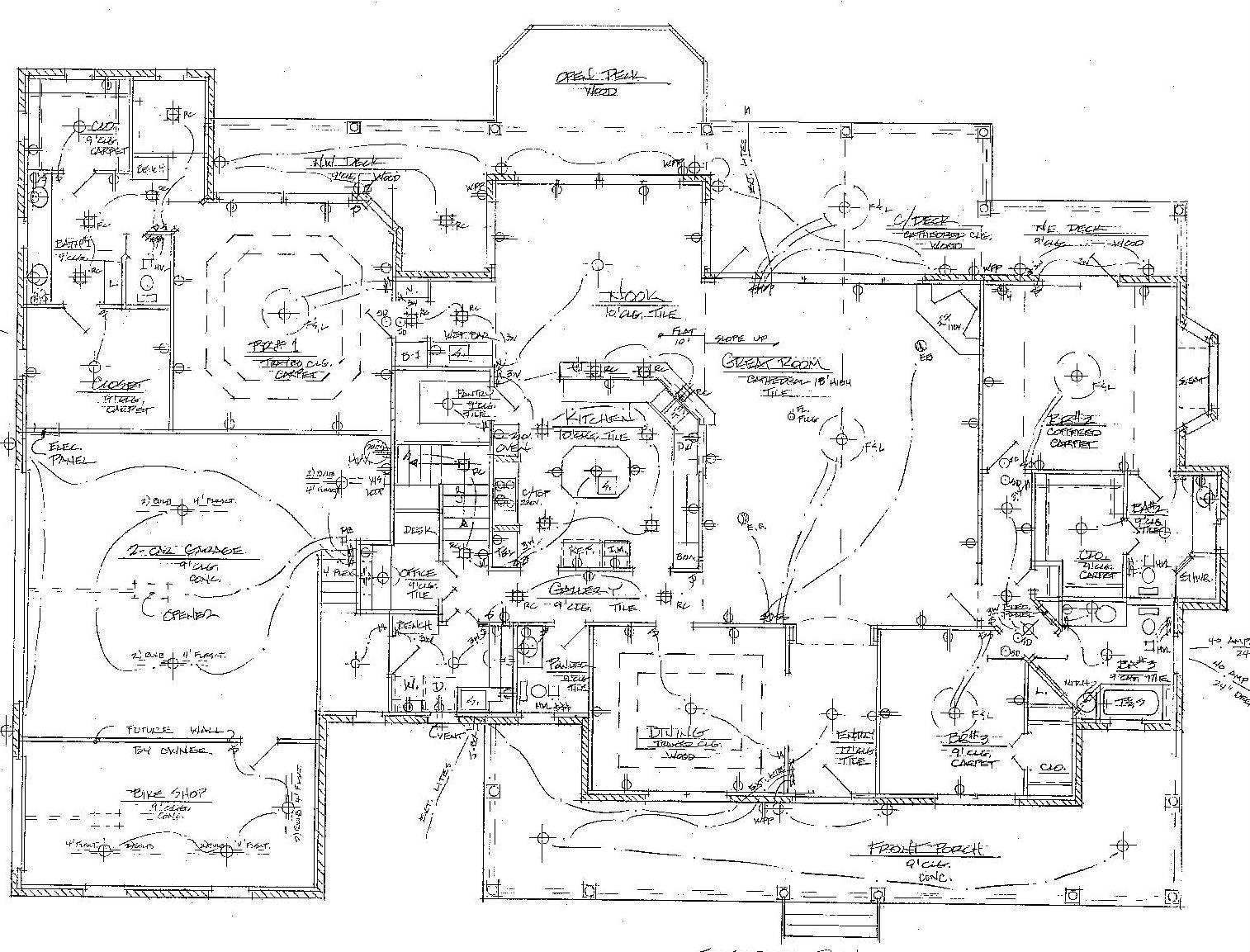 House Electrical Wiring Floor Plan Besides Restaurant House Plans 44731