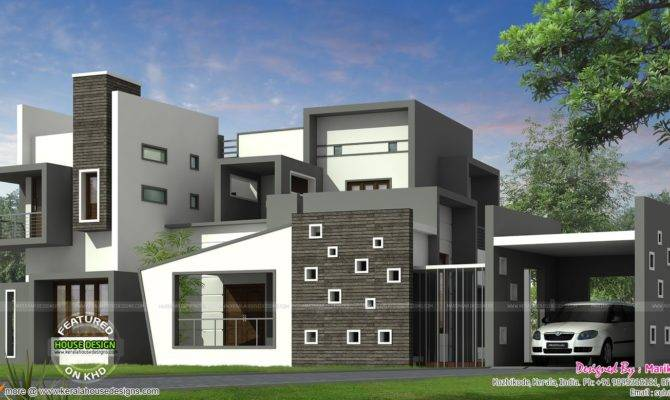 House Kerala Style Contemporary Plans Modern