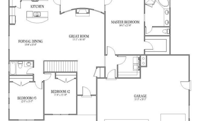 House Open Floor Plan Rambler Monarch Plans Home Design