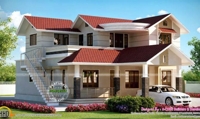 House Outside Staircase Kerala Home Design