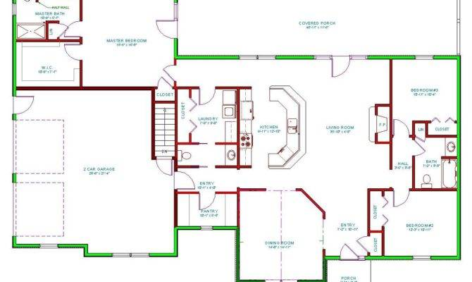 House Plan Single Level Traditional Houseplan Ranch Home