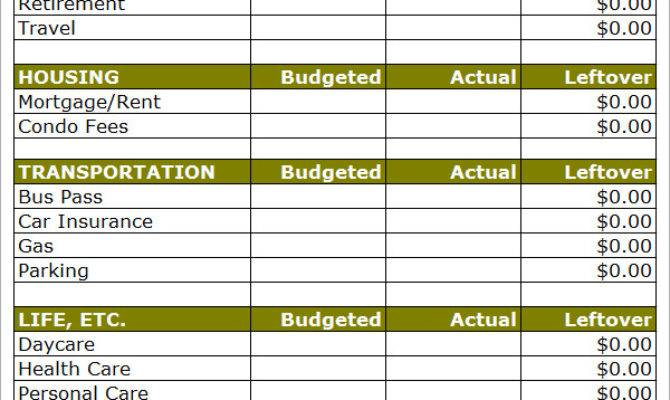 Household Budget Template Excel Ideas