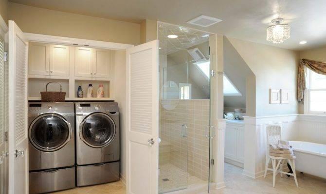 Impressive Master Bathroom Laundry Room Combo