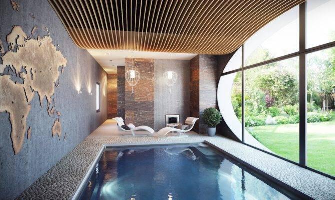 Indoor Swimming Pool Modern Chandelier Lounge Bed Olpos Design