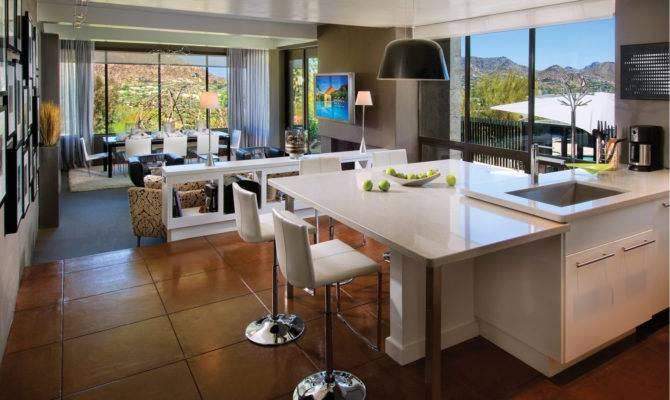 Interior Open Floor Plan Kitchen Dining Living Room