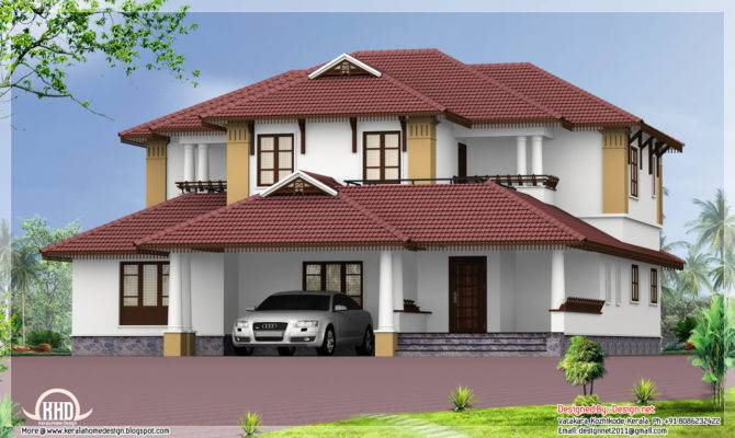 Kerala Style Traditional Sloping Roof House Home
